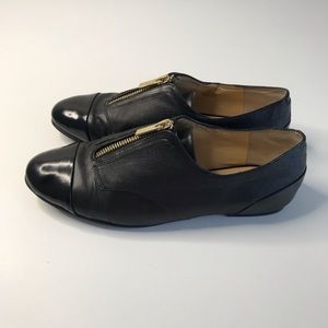 Gianni Bini Womens 7 Oxfords Black Zip Up Cap Toe